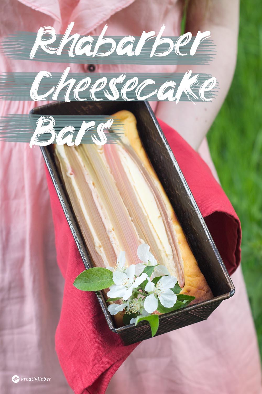 cheescake für picknick Rezept Rhabarber cheesecake bars
