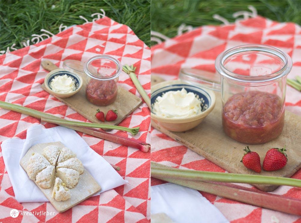 Rhabarber Scones und Kompott fürs Picknick