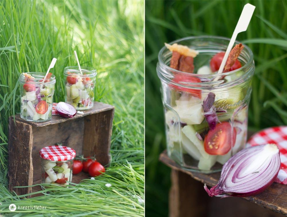 picknickrezepte Spargel Salat mit Schinkenchips