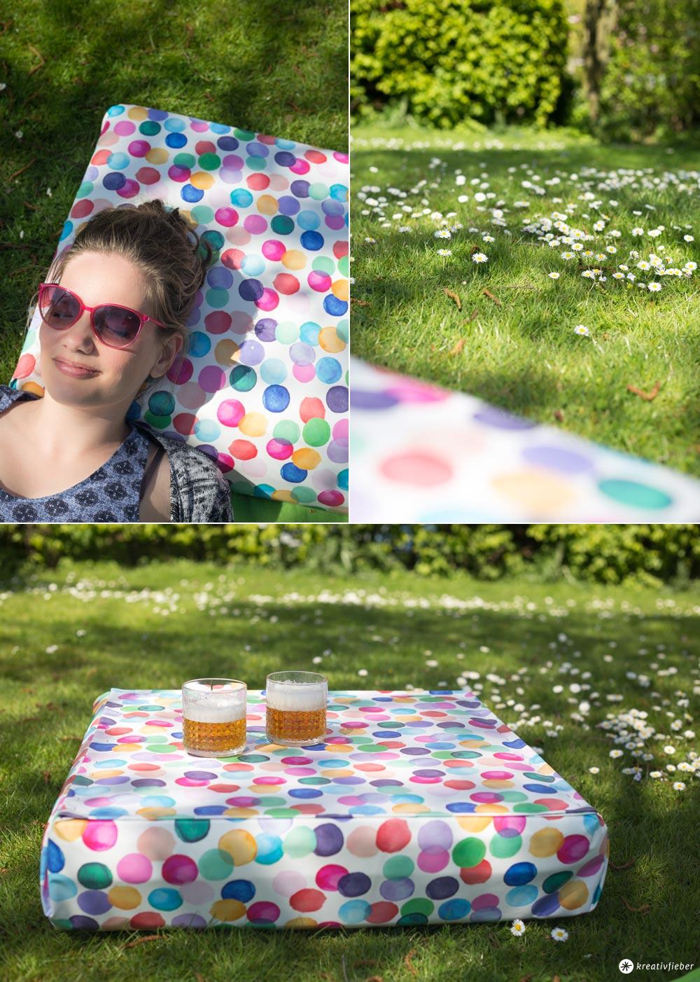 DIY Gartenkissen - als Kissen oder Tisch nutzbar - Schritt für Schritt Anleitung
