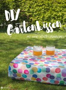 DIY Gartenkissen mit Tischfunktion - multifunktionales Gartenkissen selbermachen