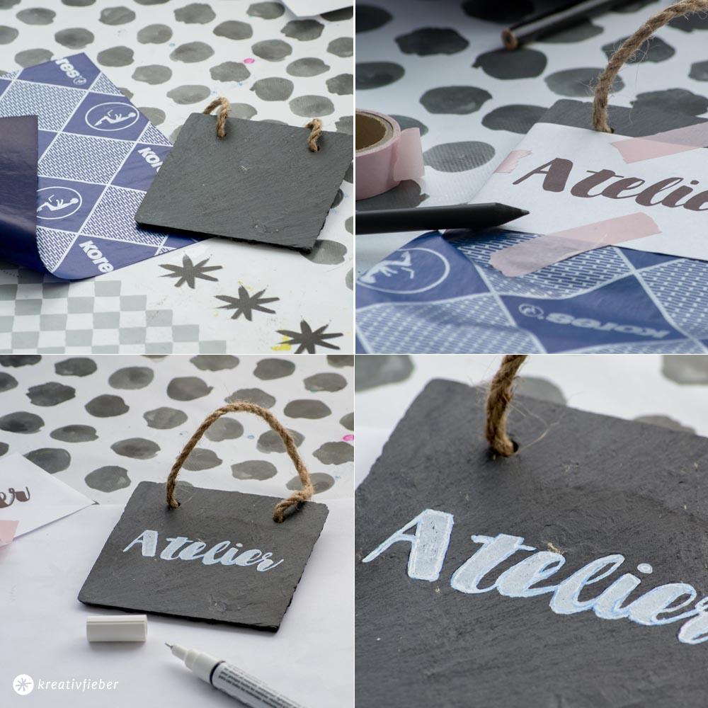 DIY Türschild Handelseinig Kalligrafie Schiefer
