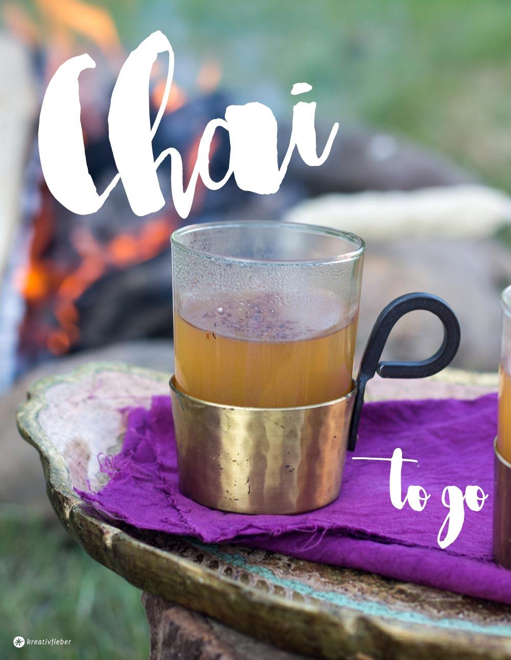 Chai to go - Chai Latte Pulver für Unterwegs zum Mitnehmen mischen - Glamping und Lagerfeuer Rezeptideen