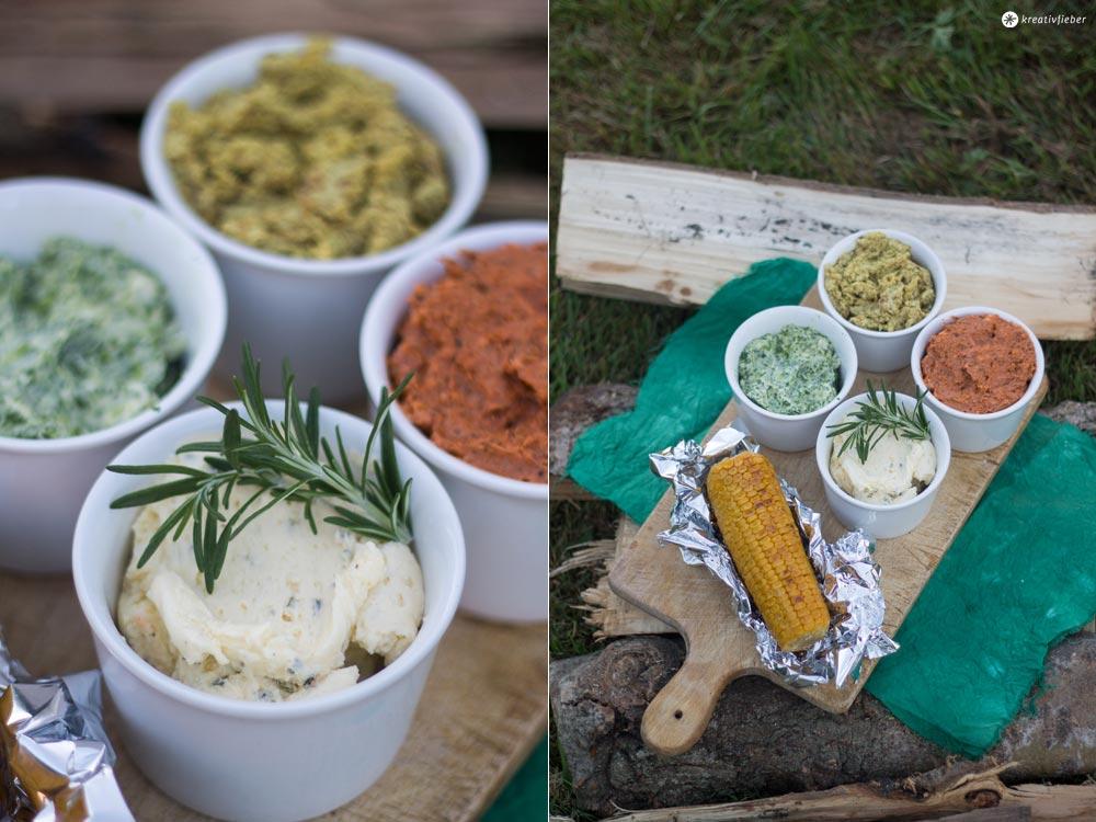 Vier verschiedene Sorten Grillbutter
