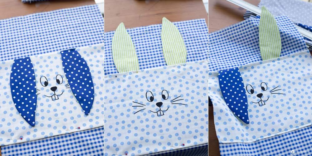 DIY-Hasenrucksack-für-Kinder---Ohren-und-Hasengesicht-feststecken-und-nähen