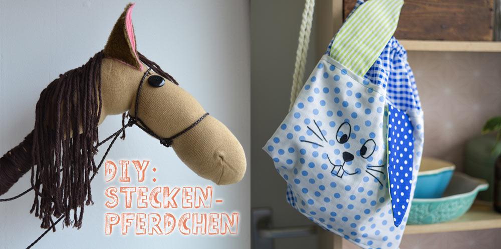 DIY Geschenke für Kinder - Hasenrucksack und Steckenpferdchen