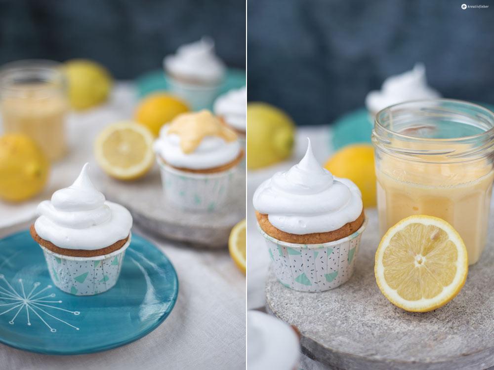 Lemon Curd Cupcakes mit Schokokuss Topping - Cupcakes mit Zitronencreme