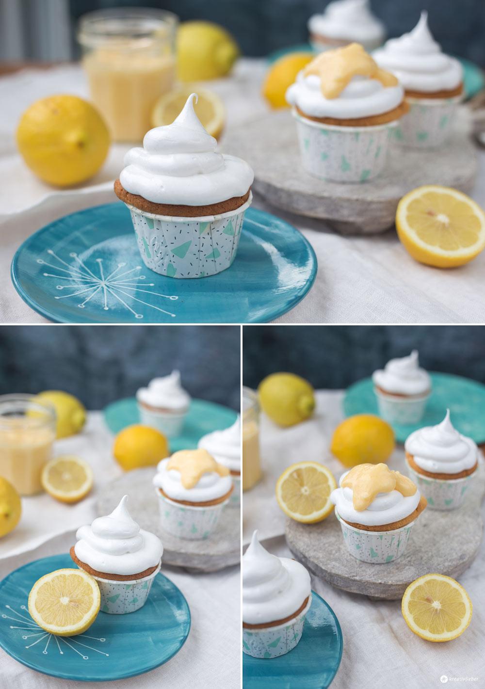 Lemon Curd Cupcakes mit Schokokuss Topping - leckere Cupcake Rezeptidee