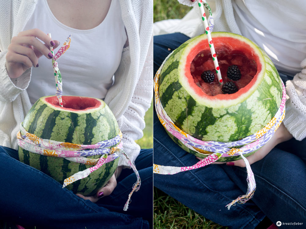Melonenbowle selbermachen - Glamping Rezeptideen - Sommercocktail