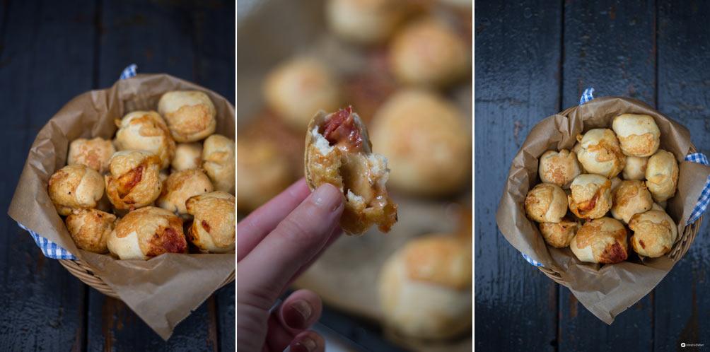 Pizza Bombs selbermachen - Fingerfood Partysnack Idee - einfaches Rezept