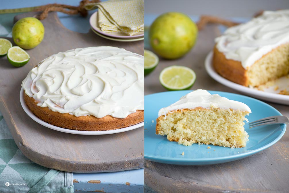 Kuchen Rezept Avocadokuchen mit Limettencreme Topping und Zitronen