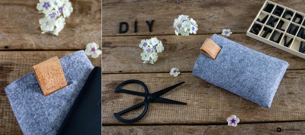 DIY Geschenke für Männer - eBook Reader Tasche aus Filz und Kork nähen - Kork DIY