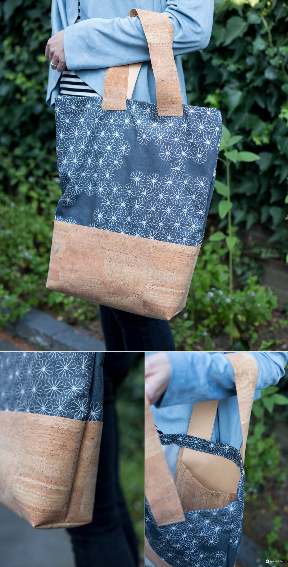 DIY Einkaufstasche mit Kork nähen - Nähen mit Korkstoff - einfache Anleitung für Taschen in beliebiger Größe
