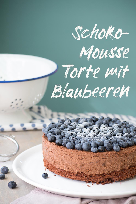 schokomousse torte mit Blaubeeren