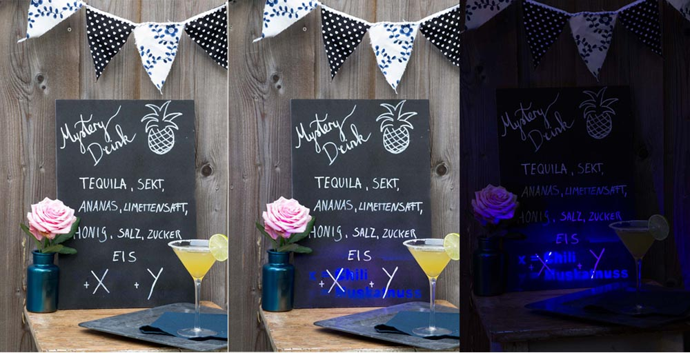 party diy mystery drink repeat board mit uv spray effect