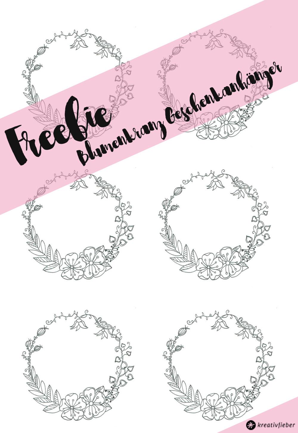 Blumenkranz Geschenkanhänger Printable Freebie - Download auf Kreativfieber.de