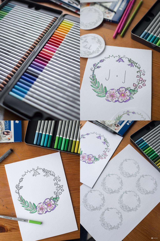 DIY Blumenkranz Monogramm Bild Schritt für Schritt zeichnen - Geschenkidee zur Hochzeit oder zur Geburt
