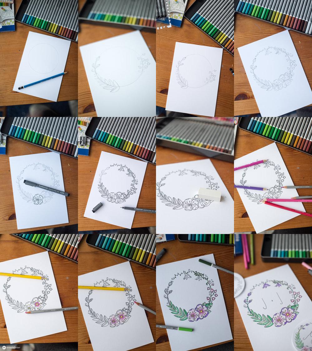 DIY Blumenkranz Monogramm Bild Schritt für Schritt zeichnen