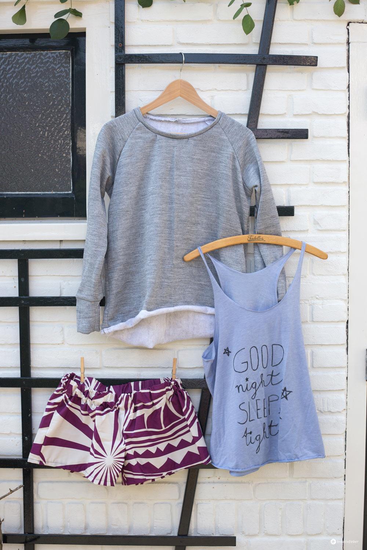 DIY Loungewear Set nähen - Schlafanzughose, Pulli und Top Upcycling