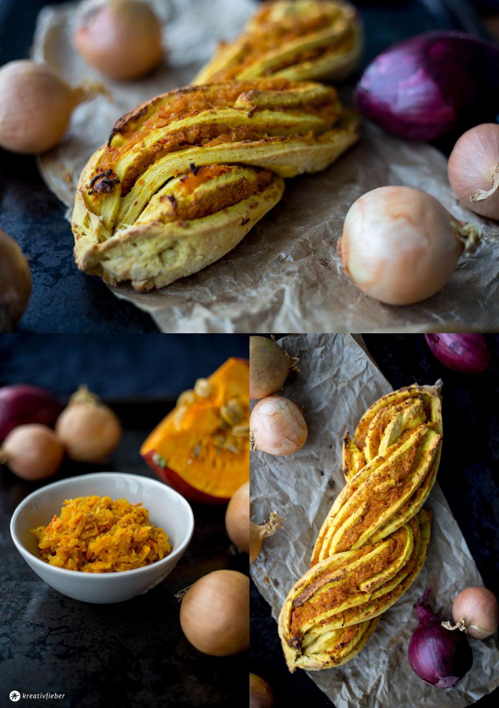 Herzhafter Kürbiszopf mit Kürbis Chutney - leckeres Kürbisrezept für Herbst und Winter