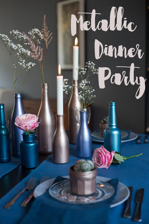 Metallic Dinner - Tischdeko günstig selbermachen - in Metallic Tönen