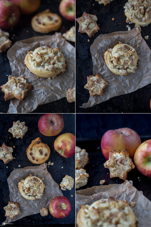 Streusel Rosinenschnecken mit Apfel und Marzipan - schnelle Backidee für Herbst und Winter