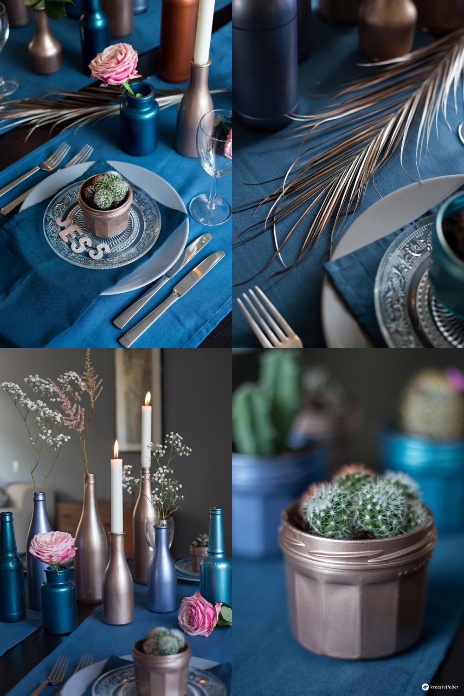 Tischdeko in Metallic Tönen selbermachen - Metallic Dinner - elegante Tischdeko für Silvester oder Hochzeiten in blau und gold