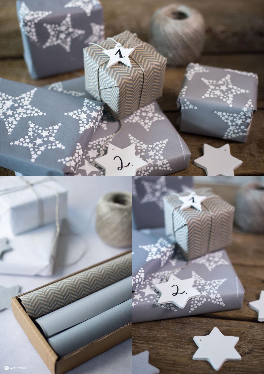 diy adventskalender verpackung papier upcycling betonanh nger. Black Bedroom Furniture Sets. Home Design Ideas