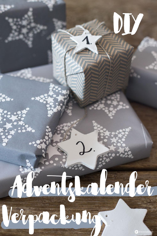 DIY Adventskalender Verpackung - Geschenkpapier Upcycling mit Reliefpaste und DIY Betonanhänger