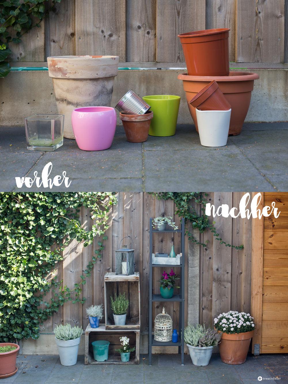 DIY Blumentöpfe mit Crackle Effekt - vorher nachher