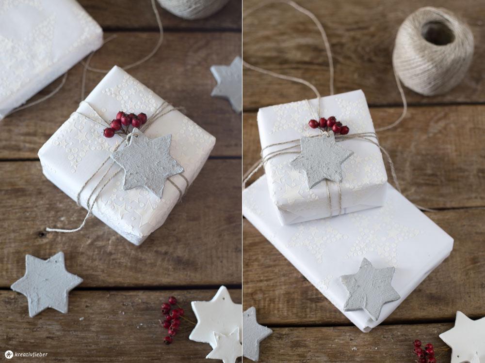 DIY Weihnachtsgeschenke verpacken - mit DIY Reliefgeschenkpapier und Beton Geschenkanhängern