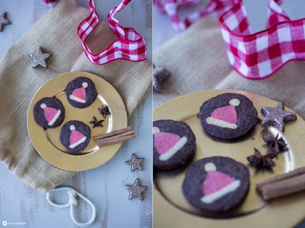 DIY Weihnachtsmützen Kekse - Weihnachtskekse mit Muster backen - einfache Anleitung von Kreativfieber
