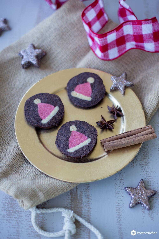 DIY Weihnachtsmützen Kekse - Weihnachtskekse mit Muster backen