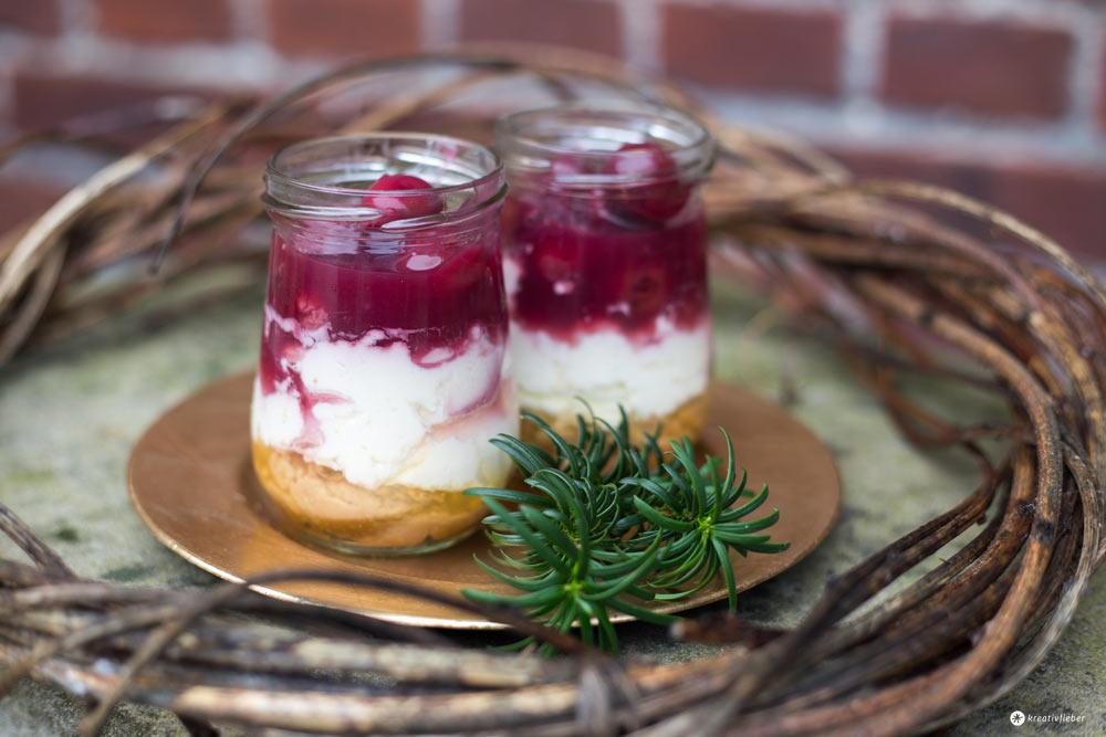 Gewürzkirschen Cheesecakes im Glas und Rezension Buch Backliebe