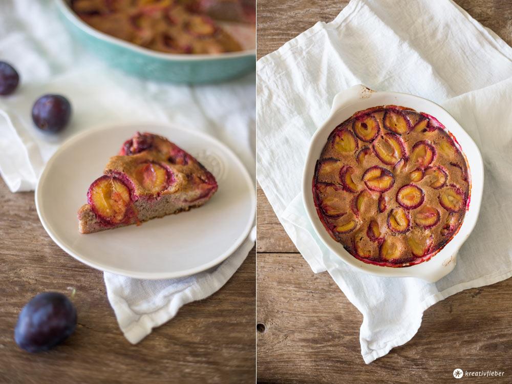 Glutenfreier Pflaumenkuchen mit Zimt - ohne Gluten, Laktose und Industriezucker