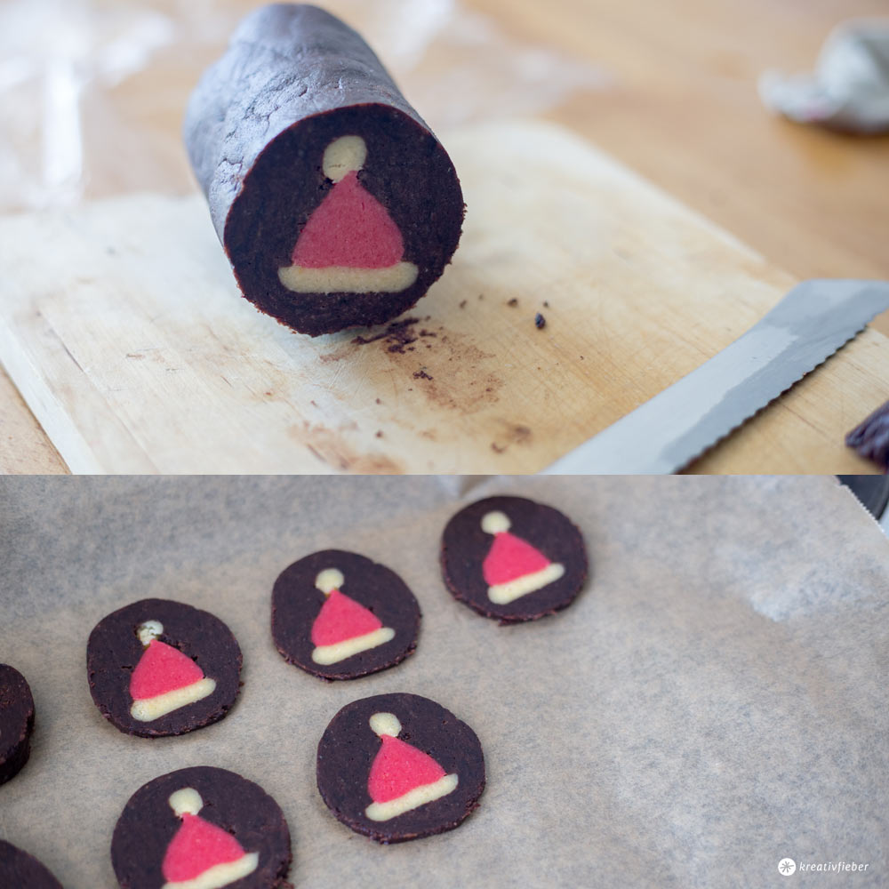 Kekse mit Muster backen - so gehts - Weihnachtsmützen Kekse