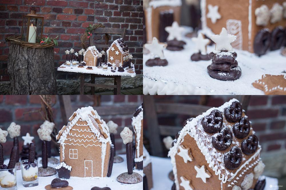 Lebkuchenhaus Dessertplatte - leckeres Weihnachtsdessert - Kreativfieber
