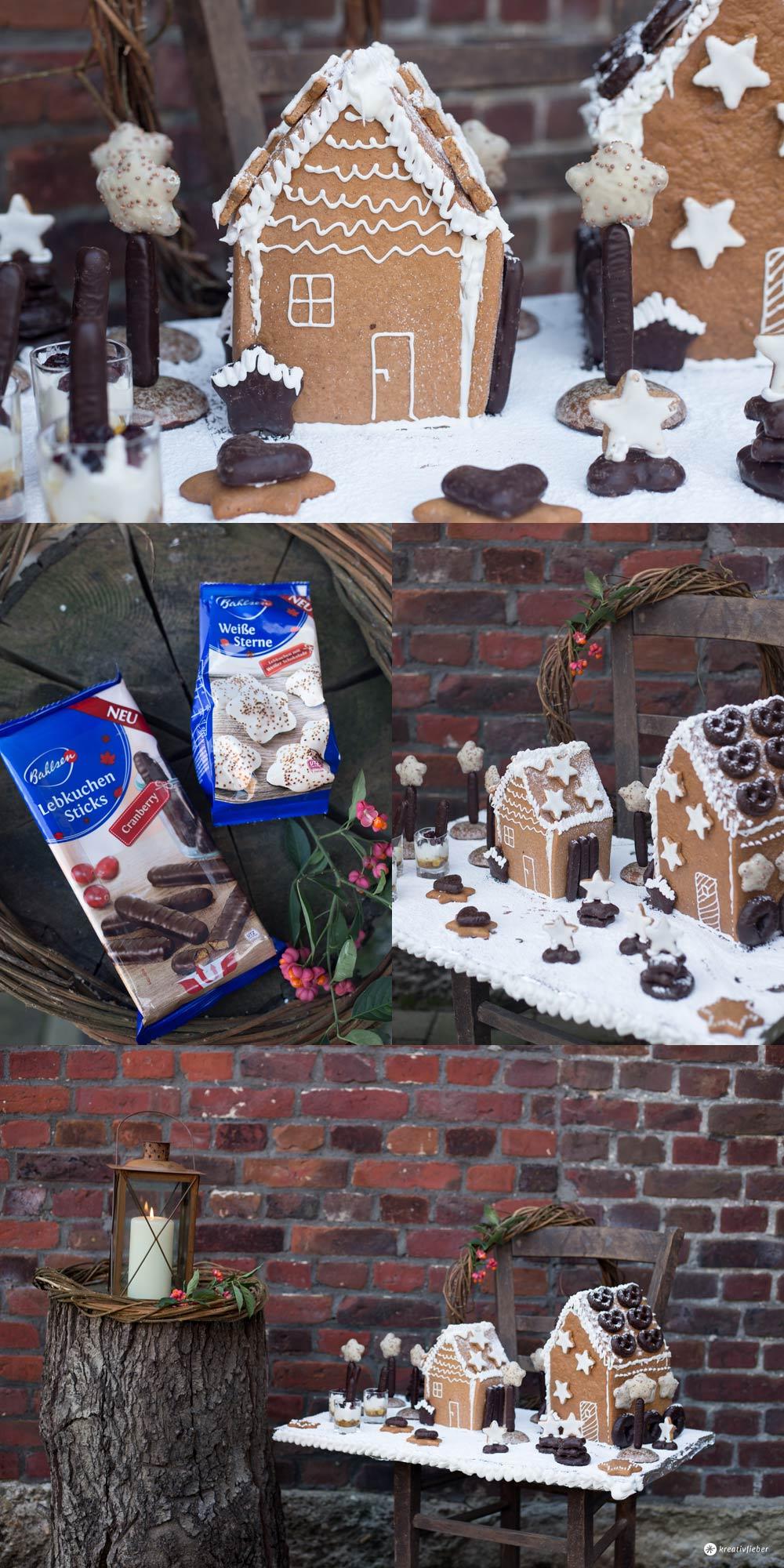Lebkuchenhaus Dessertplatte - leckeres Weihnachtsdessert mit Wow Effekt selbermachen