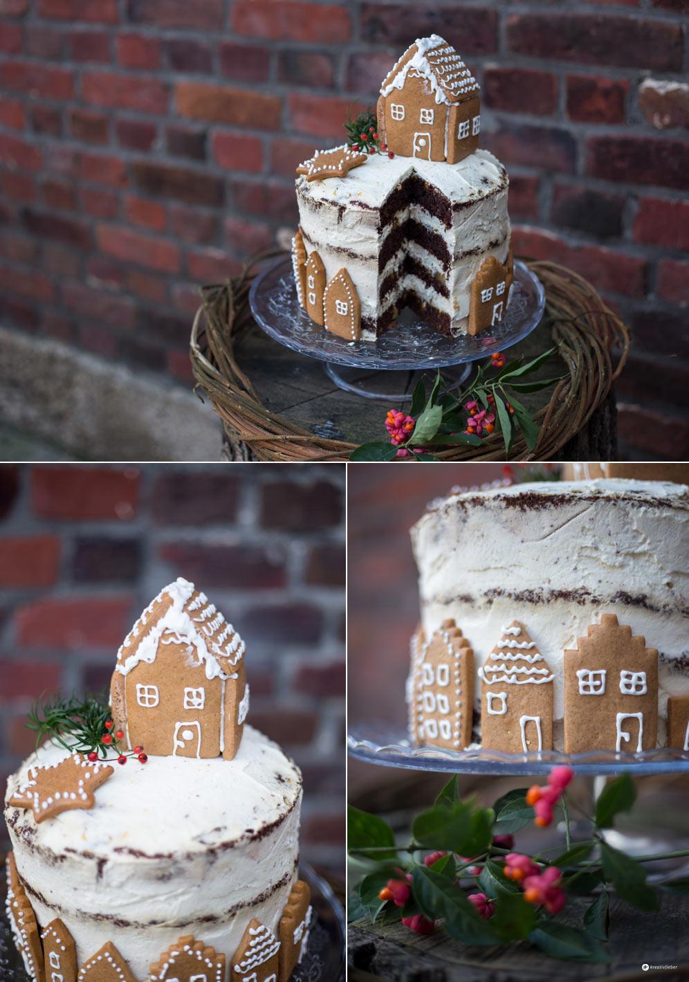 Schokotorte mit Lebkuchenhaus - Weihnachtstorte backen - Kreativfieber