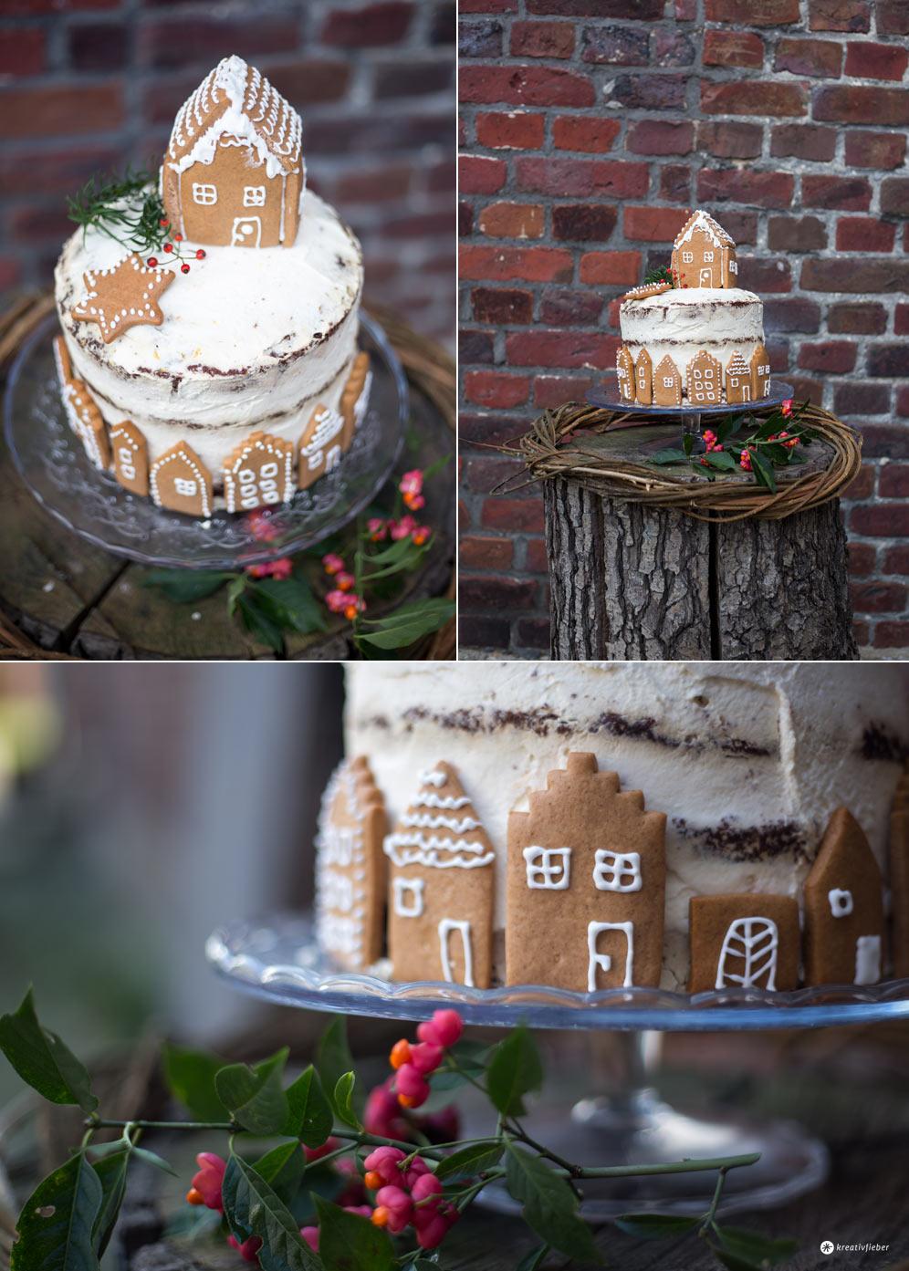 Weihnachtstorte backen - Schokotorte mit Lebkuchenhaus - Kreativfieber