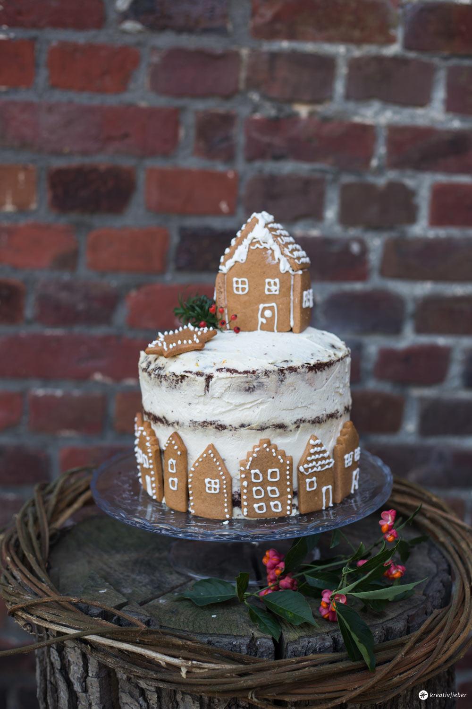 Weihnachtstorte backen - Schokotorte mit Lebkuchenhaus