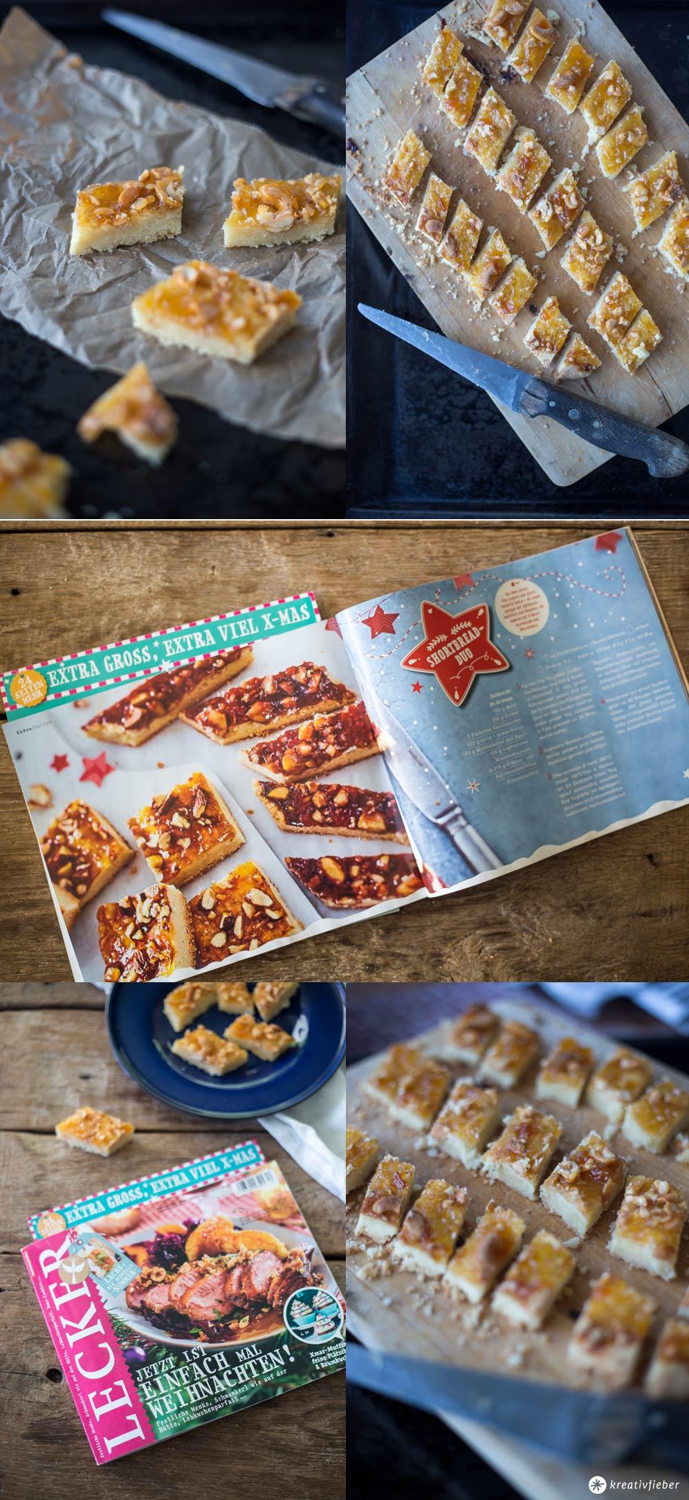 Aprikosen Shortbread mit Cashews - Weihnachtplätzchen backen mit lecker