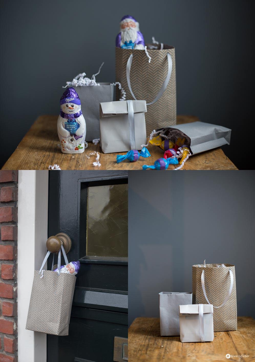 DIY Geschenktüten falten - Schritt für Schritt - Milka Weihnachtsrituale - einfache Geschenkverpackung