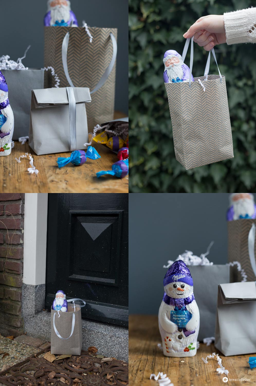 DIY Geschenktüten falten - Schritt für Schritt - Weihnachtswichteln - Milka Weihnachtsrituale