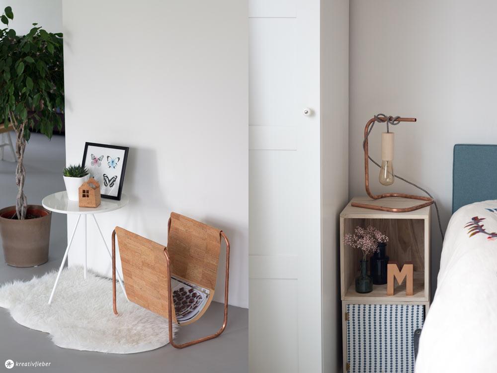 DIY Nachttischleuchte mit Kupfer und Textilkabel und Holzfassung - DIY Deko und Möbel mit Kupferrohr