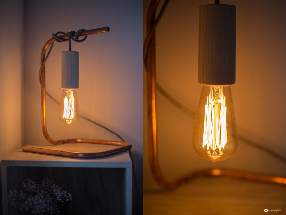 DIY Nachttischleuchte mit Kupfer und Textilkabel und Holzfassung mit Retro Glühbirne