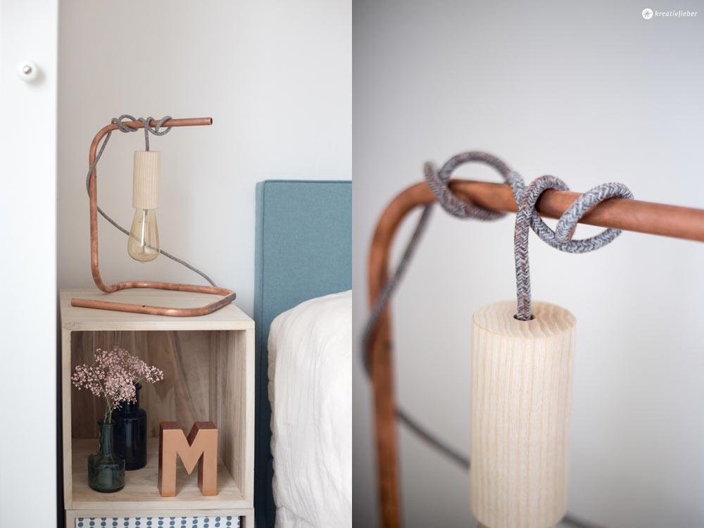 DIY Nachttischleuchte mit Kupfer und Textilkabel und Holzfassung selbermachen - DIY Tutorial