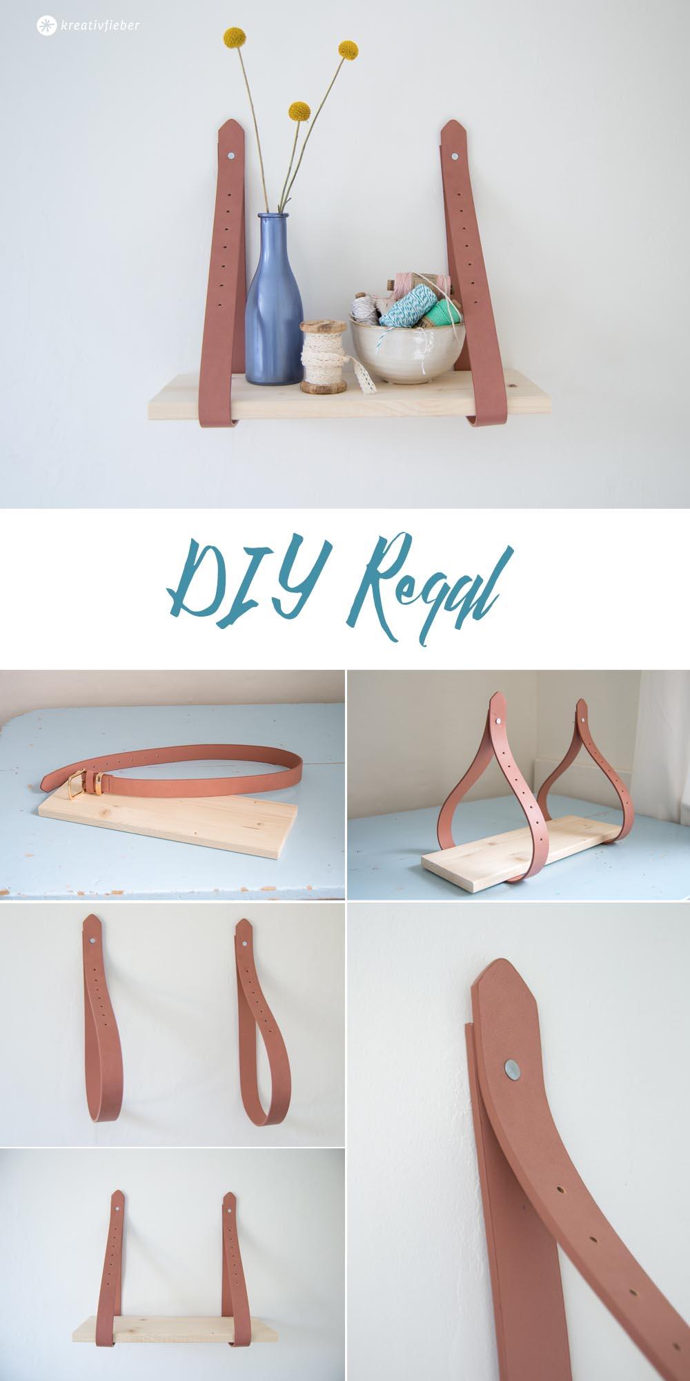 DIY Regal zum Aufhängen aus Gürteln