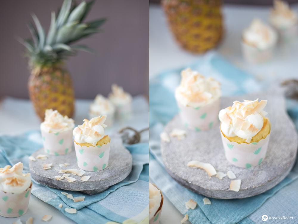 Ananas Kokos Cupcakes - leckere Cupcakes mit Kokos