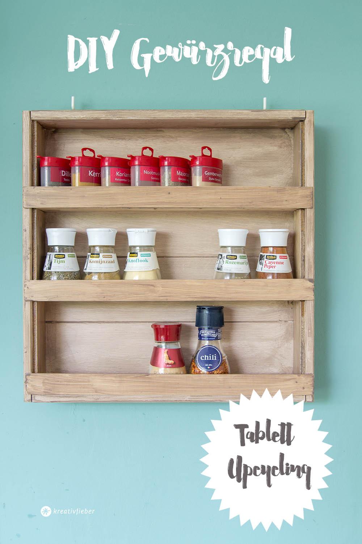 DIY Gewürzregal Selbermachen Upcycling aus Tablett Kräuterregal